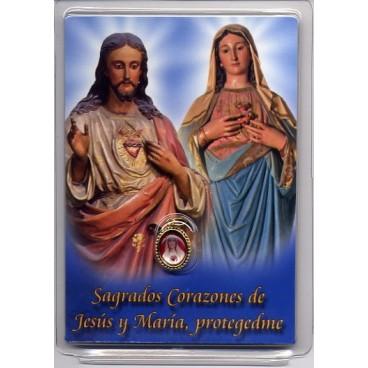 Medallita y estampa de los Sagrados Corazones de Jesús y María